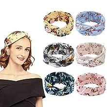 URAQT Women's Headbands, 6 Packs Boho Headbands, Vintage Elastic Printed Head Wrap, Stretchy Wide Hairband Twisted Cute Hair Accessories (Light Flower)