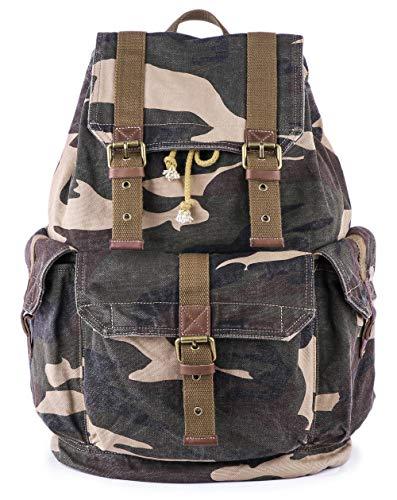 Gootium Canvas Rucksack Backpack Wanderrucksack Vintage Rucksäcke Unisex - Camouflage