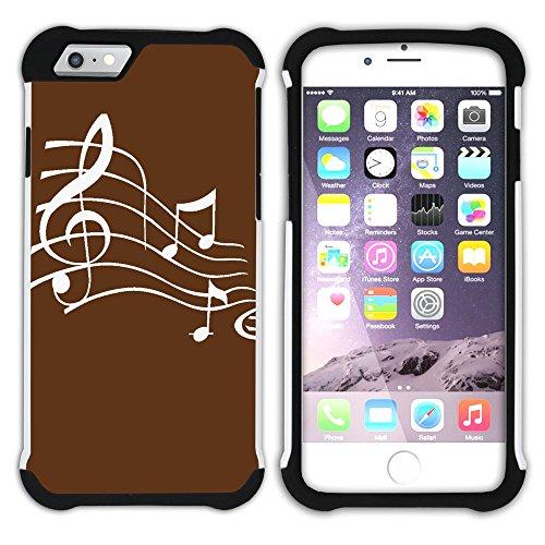 Graphic4You Musik Noten Muster Design Hart + Weiche Kratzfeste Hülle Case Schale Tasche Schutzhülle für Apple iPhone 6 Plus / 6S Plus (Aqua Blau) Braun