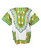 Lofbaz Unisex Dashiki Stampa Tradizionale Africana Hippy Boho XL White And Grass Green
