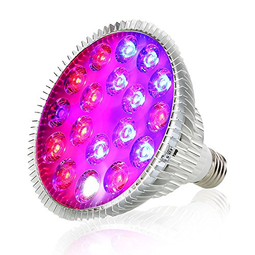 Derlight 18W E27 Full Spectrum Grow Light Bulb with Blue & Red and IR + UV LED, Plant Grow Light for Indoor Gardening Hydroponics System Greenhouse Flowering Plant Lighting (18W) by Derlight