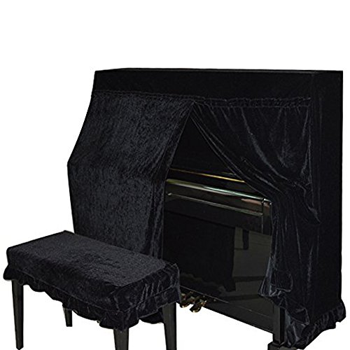 domii. Piano Protector contra el polvo y banco de Piano doble cubierta de terciopelo casa decorada con macramé proteger contra polvo y arañazos, negro