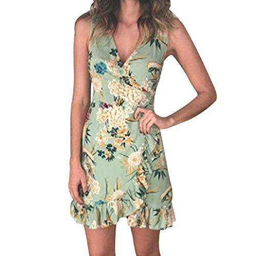 Heiß! Kanpola Damen Kleider Frauen Halbe Hülse Lose Blumendruck Maxikleid Tunika Shirt Bowknot...