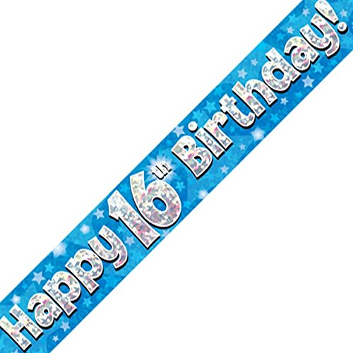 Oaktree LTD Happy 16th Birthday Banner, Folie, blau, 270 x 12 x 0,1 cm