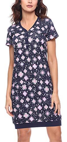 Merry Style Damen Nachthemd MS10-183(Marine Blumen, 44 (Herstellergröße: XXL)) -