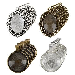 12 Stück Oval Anhänger Tabletts und 12 Stück Rund Lünette mit 24 Stück Glas Kuppel Fliesen Klar Cameo, 48 Stück