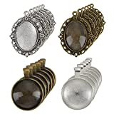 12 Pieces Oval Pendant Trays and 12 Pieces Round Bezels with 24 Pieces Glass Dome Tiles Clear Cameo, 48 Pieces