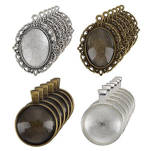 nger Tabletts und 12 Stück Rund Lünette mit 24 Stück Glas Kuppel Fliesen Klar Cameo, 48 Stück (Lünette Mit Kuppel)