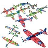 TE-Trend 12 Stück Flieger Styropor Gleitflugzeug Kinder Styroporflieger Mitgebsel Flieger Flugzeug Kindergeburtstag Wurfgleiter Glider