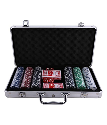Poker Chip Set Casino Size With Aluminium Carry Case - 300 Pieces`