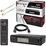 Kabel Receiver Kabelreceiver – DVB-C HB-DIGITAL SET: Opticum HD C200 Receiver für digitales Kabelfernsehen (HDMI, SCART, USB 2.0, Mediaplayer) + 2m HDTV Antennenkabel vergoldet mit Mantelstromfilter weiß + HDMI Kabel