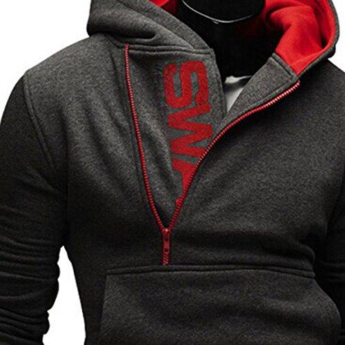 Herren Jacke Kapuze Hoodie Sweatshirt Kapuzenpullover V-Ausschnitt Pullover Übergangsjacke 1Grau-rot
