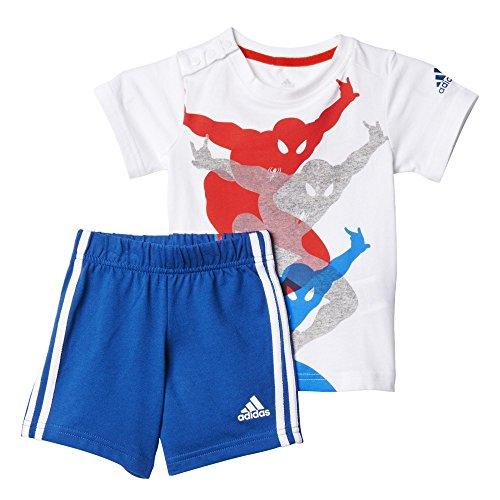 Kleinkind Fußball Jersey (adidas Kinder Trainingsanzug TO DY SM SS, Weiß / Blau / Rot, 80, 4055344204665)