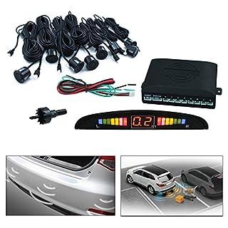 Hengda® Einparkhilfe 8 Sensoren Auto Rückfahrwarner Rückfahrsystem Parksensoren Schwarz KFZ PKW PDC