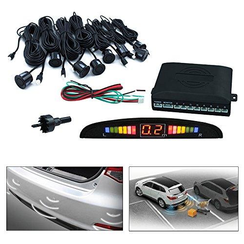Hengda® Aparcamiento Sensor,Asistente de Aparcamiento Revertir Sensor con Visualizador con Sonido y 8 Sensores (Negro)