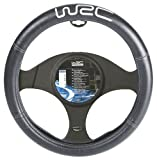 WRC 007380 Steering Wheel Cover Black with Silver Stitching