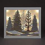 Weihnachten Winter Wonderland–Großer Deko beleuchtet Holzschild satiniert/Bild mit Weihnachten Glitzer Forest LEDs–Warm weiß–40cm
