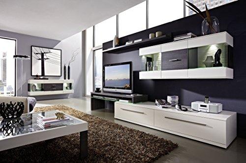 Design Wohnwand 4-teilig, mit Glasvitrinen, - Weiß Mattlack / Esche Grau Nachbildung, Soft Close-Dämpfung, Selbsteinzug, Wohngalerie Zerlegt