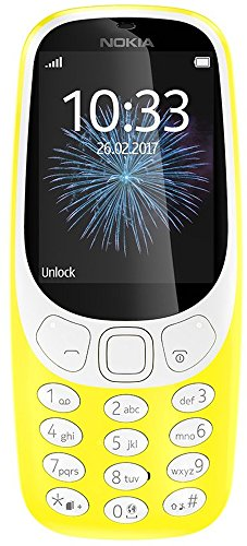 Nokia 3310 2G Mobiltelefon (2,4 Zoll Farbdisplay, 2MP Kamera, Bluetooth, Radio, MP3 Player, Single Sim) gelb (3310 Nokia)