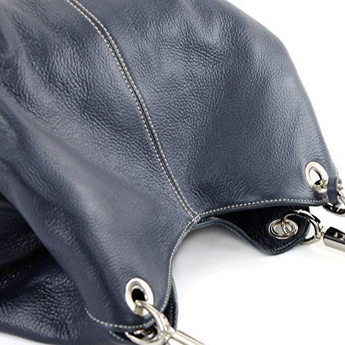 modamoda de - ital. Ledertasche Damenhandtasche Beuteltasche Schultertasche Leder 228 Dunkelblau