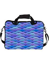 """Snoogg Blue Waves In Japanese Style 10"""" 10.5"""" 10.6"""" Inch Laptop Notebook SlipCase With Shoulder Strap Handle Sleeve..."""