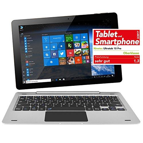 NINETEC Ultratab 10 Pro Convertible Tablet PC 2in1 Windows 10 + Android Ultradünnes Vollaluminium Gehäuse Silber