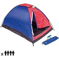 Tenda Da Campeggio Per 4 Persone Tenda Camping Spiaggia Cupola 4 Posti Familiare Tenda Outdoor in Nylon Antivento Zanzariera Colore Rosso Blu ENRICO COVERI