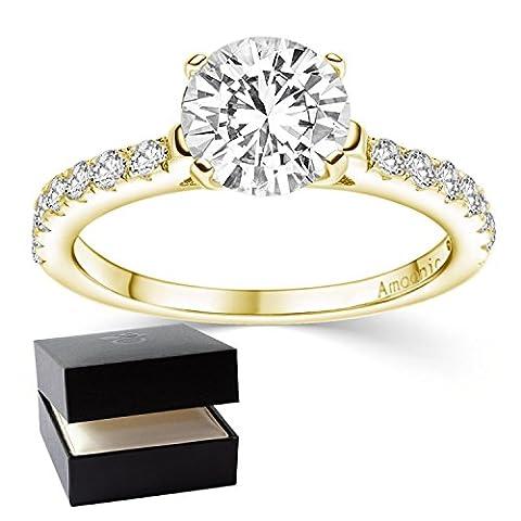 Goldring Verlobungsringe Gold vergoldet **Silber hochwertig vergoldet** Zirkonia Stein + LUXUSETUI! Goldring Ring Zirkonia wie Diamant Ringe Heiratsantrag Hochzeit Verlobung AM289 (9 Ct Goldringe)