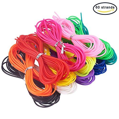 NBEADS 60 Stränge der elastischen Schnur 2mm Stärke PVC Schlauchgummischnur Seil Schmuck Kabel, Mischfarbe, 1m/Strang