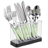mDesign Besteckkorb für Messer, Gabeln, Löffel – auch geeignet zur Aufbewahrung für Kochlöffel, Pfannenwender, Teigschaber etc. – mattschwarz/durchsichtig