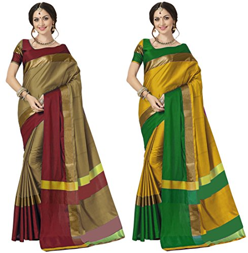 Art Decor Women\'s Cotton Silk New Trendy Saree With Blouse Piece (Pack of 2)