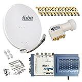 HB-Digital SET: FUBA 8 Teilnehmer Digital SAT Anlage 85cm DAA850G + hochwertiger LNB 0,1dB FULL HDTV 4K + 5/8 Multischalter + 24 Vergoldete F-Stecker Gratis dazu