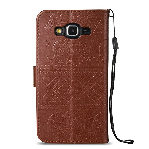 Etsue Custodia Per Samsung Galaxy J5 2015 in Pelle,Sollievo Colorate Dipinto Modello Ultra Sottile Leather Pu Bianca Flip Wallet Case Cover,Morbida Flessible Slim Portafoglio Libro AntiGraffio Protett Marrone/Elephant