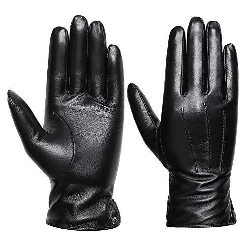 Acdyion Damen Winter Leder Handschuhe Touchscreen Echt Leder Nachrichten Schreiben Texting Fahren Winter Warm Handschuhe mit Kaschmir (Large) -