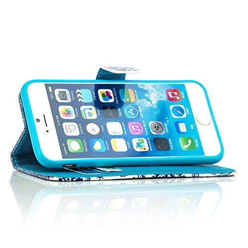 Saxonia Tasche iPhone 6 / 6S Hülle Flip Case Schutzhülle Handytasche mit Kartenfach Motiv Ornament Blau Elefant