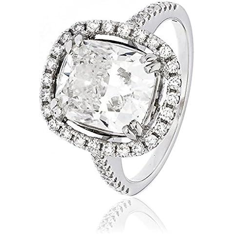 4.70CTS certificato G VS2 centro 4.01CT-Anello con diamanti taglio cuscino e diamanti sulle spalle con aureola in oro bianco 18 k