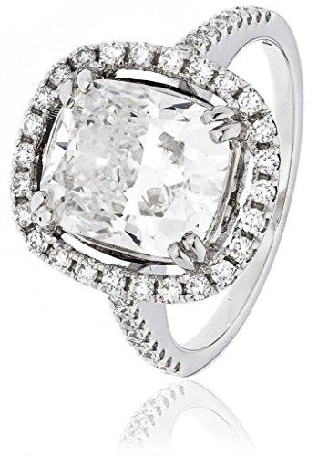 4.70ct Certificato G/VS2Centro 4.01ct Diamante Taglio Cuscino Anello con aureola e diamanti sulle spalle in Oro Bianco 18K, oro bianco, 56 (17.8), cod. FL-4801