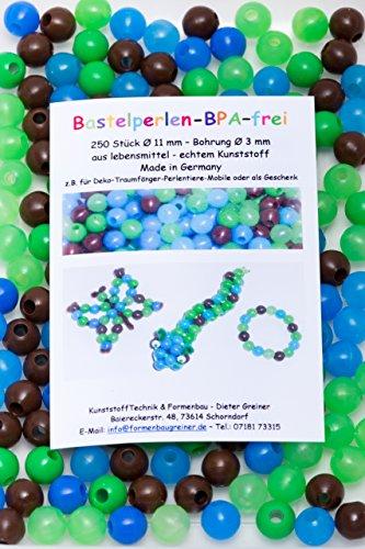 Perlen Kinderperlen Bastelperlen 250 Bastelperlen aus lebensmittelechtem Kunststoff (BPA-frei) Ø 11 mm, Fädelloch 3 mm / grün, blau und braun