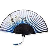 YFZYT Folding Ventilator, Multi-Muster Bambus Handheld Lüfter mit Quaste, Japanischen Stil Folding Fan, Chinesischen Stil Fan zum Tanzen Hochzeitsgeschenk Party DIY Dekoration - Fliege Schmetterlinge