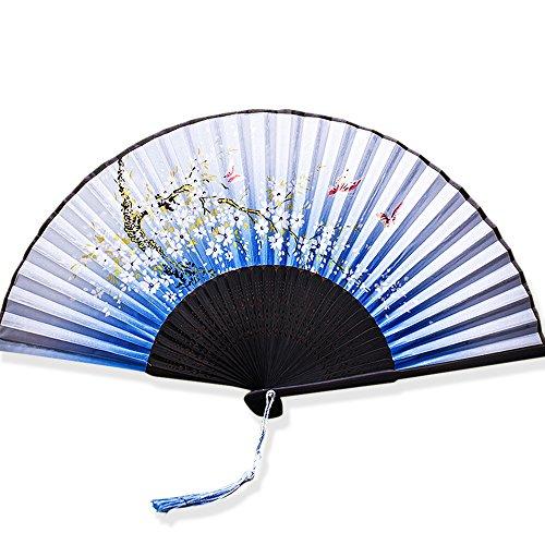 YFZYT Schöner Sakura Schmetterling Handgemaltes Silk Hand Folding Fans mit hohlem Geschnitzte Bambusrahmen für Cosplay Hochzeits Geschenk Partei Props Wand DIY Dekoration - Fliege Schmetterlinge