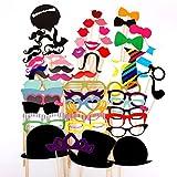 Malloom Set 58 Stück lustige Do-it-yourself-Brillen bunter Schnurrbart rote Lippen Fliegen Hüte auf Stöcken Hochzeit Geburtstag Fotorequisiten Fotoaccessoires
