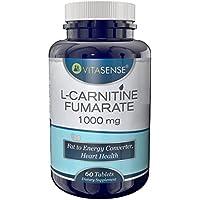 VitaSense L-Carnitina Fumarato 1000 mg - Convertitore di Grasso in Energia, Salute del Cuore - 60 compresse