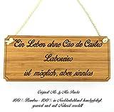 Mr. & Mrs. Panda Hunde Türschild Cão de Castro Laboreiro Classic Schild - 100% handgefertigt aus Bambus Holz - Hund Hunderasse Tierrasse Tier Tiere Geschenk Geschenke Tierfreund Dog Anhänger Schlüsselanhänger