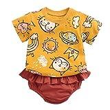 DIASTR Sommer Kleinkind Jungen Mädchen T-Shirt Baby Unisex Karikatur Tops Kinder Jungs Freizeit Baumwolle Hemd T-stücke+ Hosen Outfits Set(6m-3t)