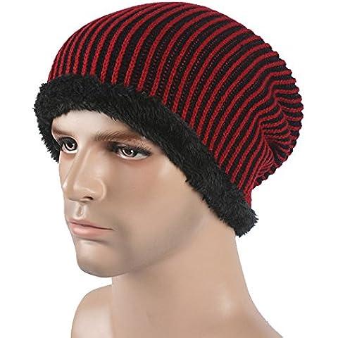 Pelusa por el invierno hombre de tejer sombreros Hat Cap ski otoño/invierno cálido abrigo hat,vino rojo
