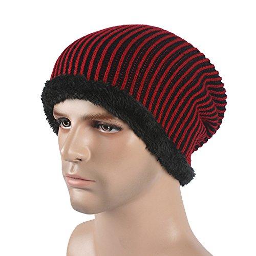MEICHEN-lanugine attraverso inverno uomini knit hats Hat Cap ski autunno/inverno caldo cappotto hat,vino (Patterns Knit Bambini Cappelli)