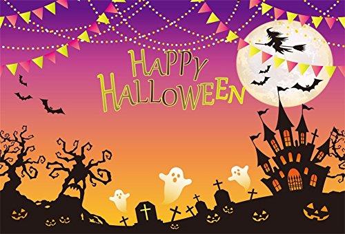 YongFoto 2,2x1,5m Vinyl Foto Hintergrund Halloween Party Geheimnis Friedhof Besenhexe Poster Fotografie Hintergrund für Fotoshooting Portraitfotos Party Kinder Fotostudio Requisiten