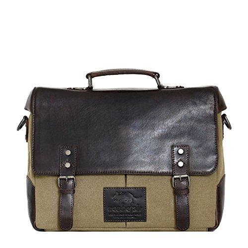manbefair FAIR TRADE Laptoptasche Erik Canvas und Öko Leder Aktentasche Messenger 35x28x8,5 cm (BxHxT) (Olivegrün) (Schulter Gesteppte Tasche Vintage)
