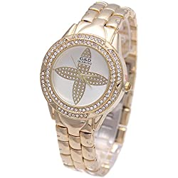 Sheli Women's Beautiful Gold Diamonds Flower Dial Stainless Steel Water Resistant Bracelet Watch, 33mm