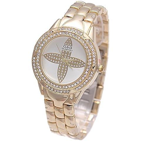 Sheli de la mujer hermosa flor de diamantes de oro Dial Acero inoxidable resistente al agua reloj de pulsera, 33mm